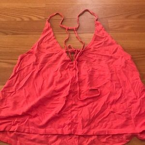 coral tie front flowy tank top with back detailing